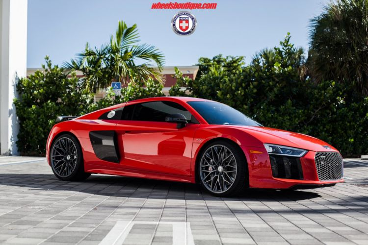 HRE wheels cars Audi-R8 V10 Plus red wallpaper