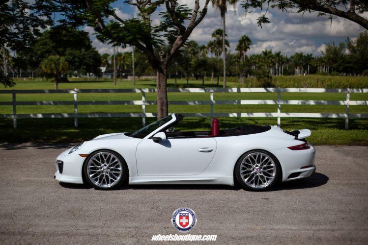 HRE wheels cars Porsche (991) 911 cabriolet white Carrera wallpaper