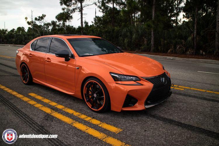 HRE wheels cars Lexus GS-F sedan orange wallpaper