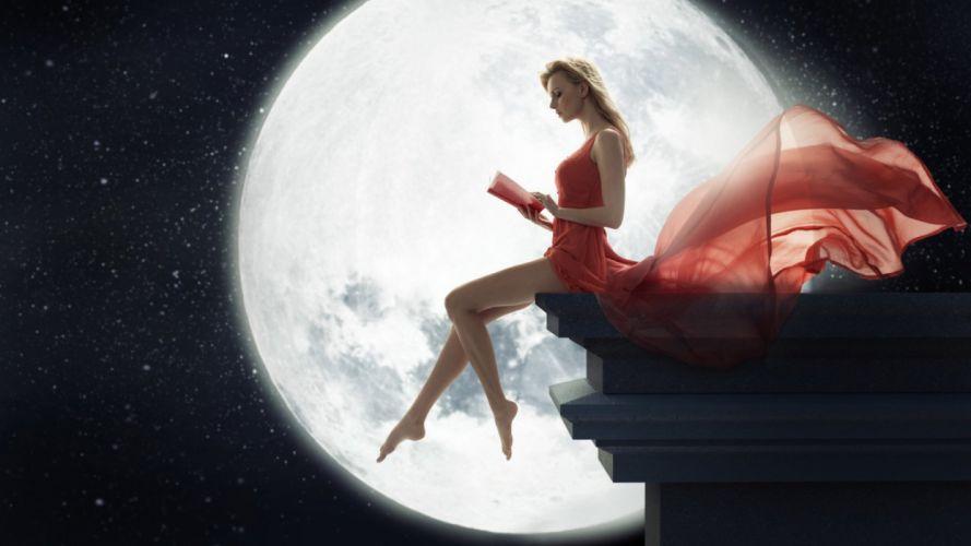 moon model book girl red dress wallpaper