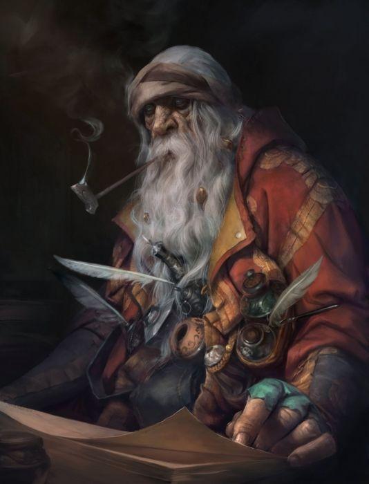 original characters fantasy old magician man wallpaper