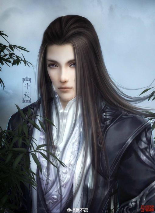 original characters fantasy man beauty long hair wallpaper
