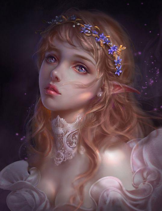 original characters fantasy face girl beautiful elf fairy blue eyes wallpaper