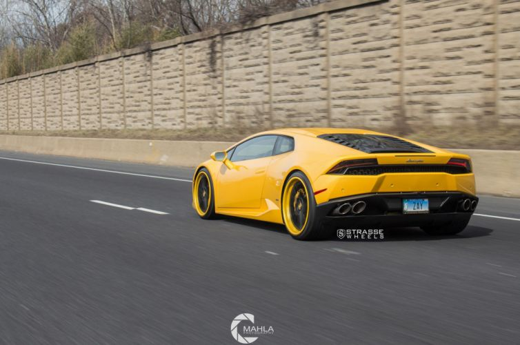 Strasse Wheels Lamborghini Huracan LP610-4 cars yellow wallpaper