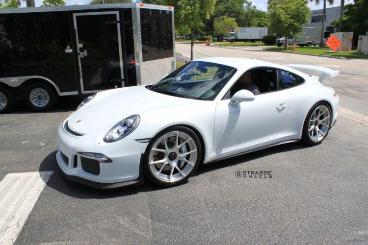 Strasse Wheels Porsche 911 991 GT3 cars white wallpaper