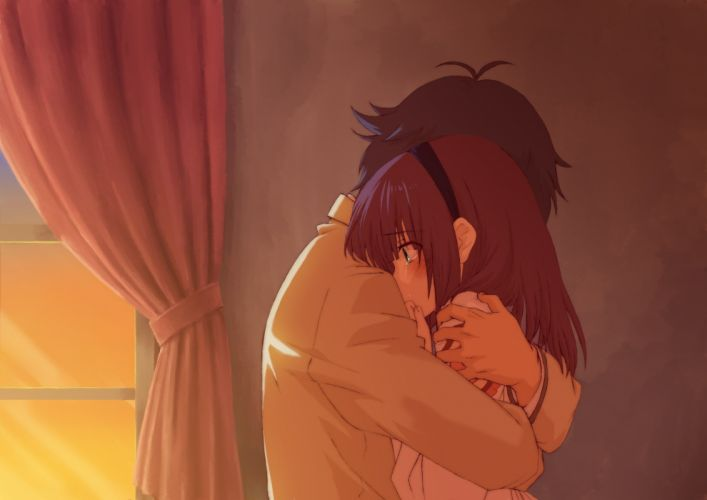 anime girls Angel Beats Nakamura Yuri couple cry wallpaper