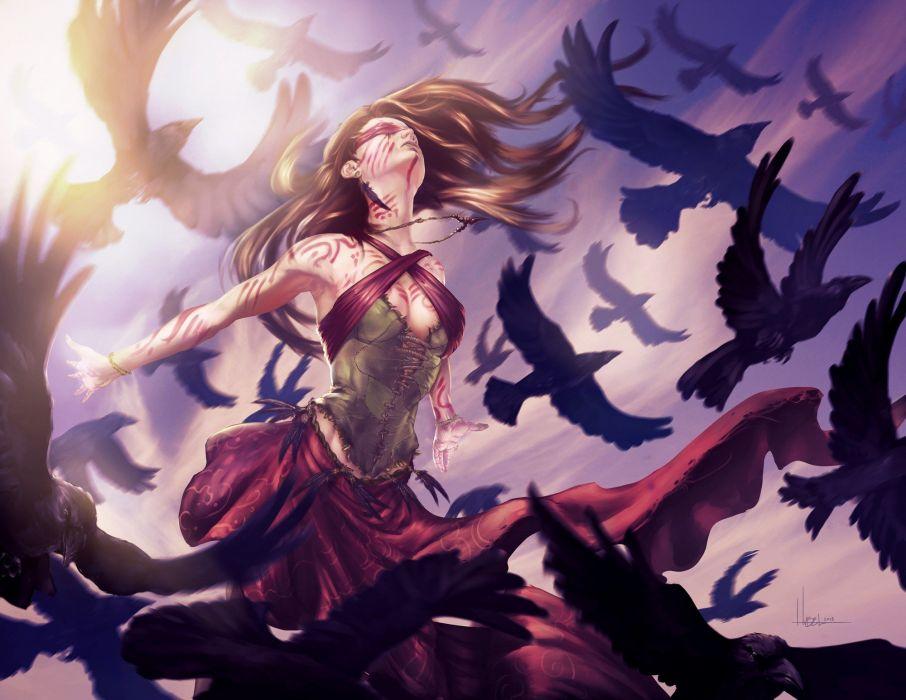birds woman sky magic original characters fantasy fantasy art wallpaper