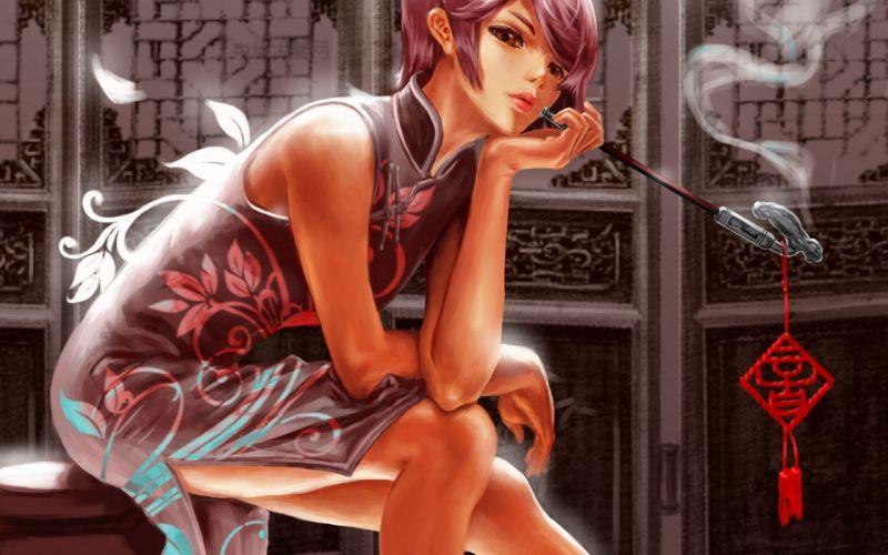 Chinese clothes Meiko Vocaloid anime girls artwork wallpaper
