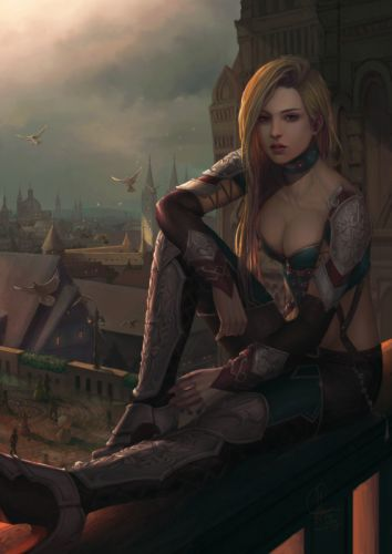 fantasy art blonde girl woman beautiful warrior wallpaper