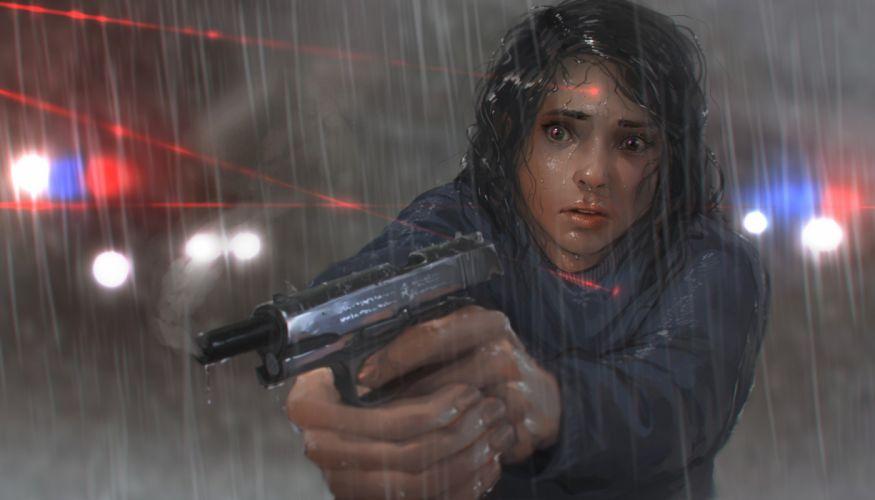 fan art women gun laser rain police wallpaper