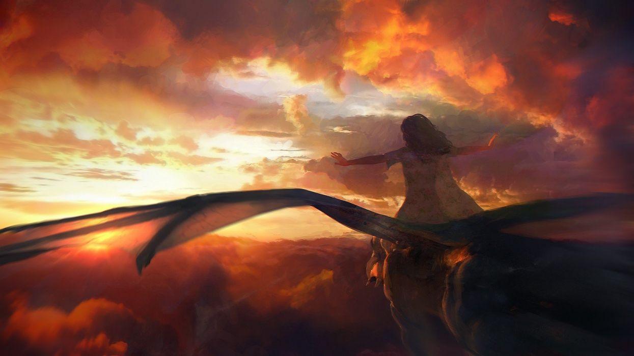 fantasy art dragon clouds sky flying girl wallpaper