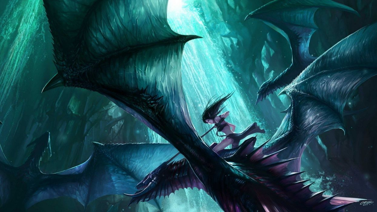 fantasy art dragon woman elf wallpaper