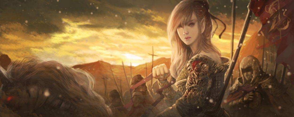 fantasy art elf woman warrior wallpaper