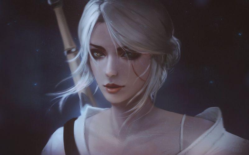 fan art portrait The Witcher 3 Wild Hunt white hair Cirilla Fiona Elen Riannon The Witcher wallpaper