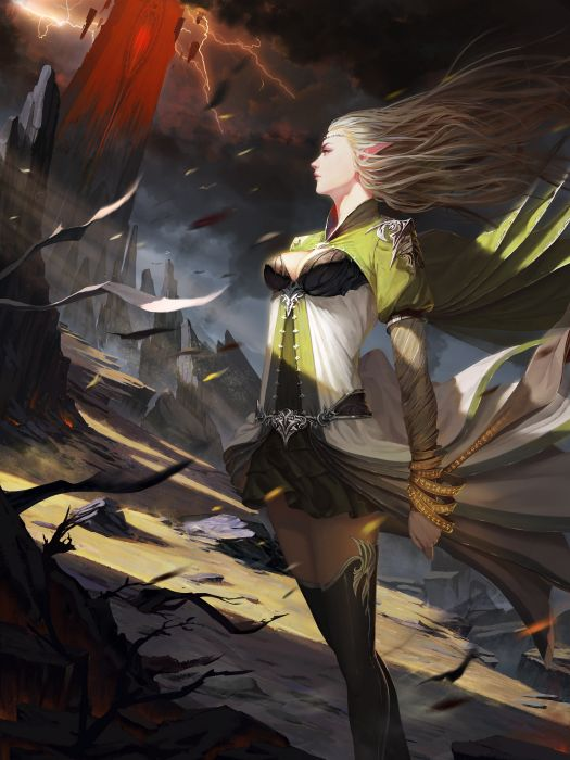 fantasy art elves girl dress blonde wallpaper