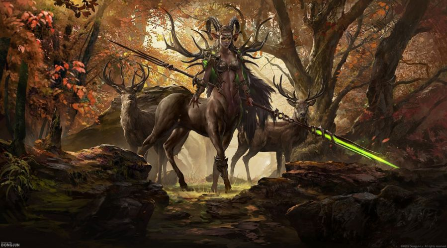 fantasy art Centaur deer woman forest wallpaper