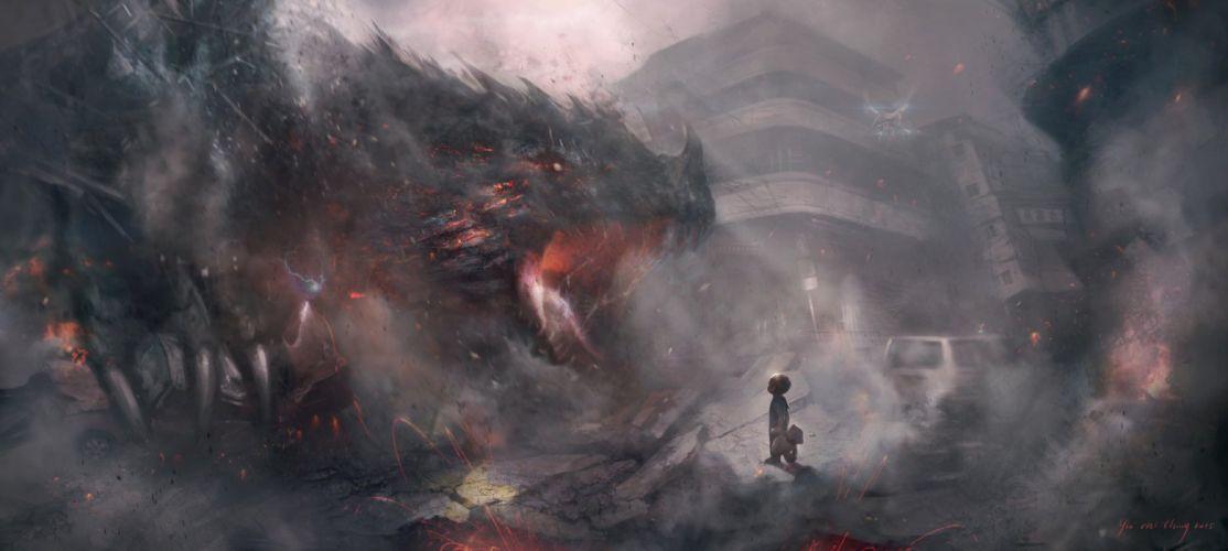 fantasy art dragon child city wallpaper