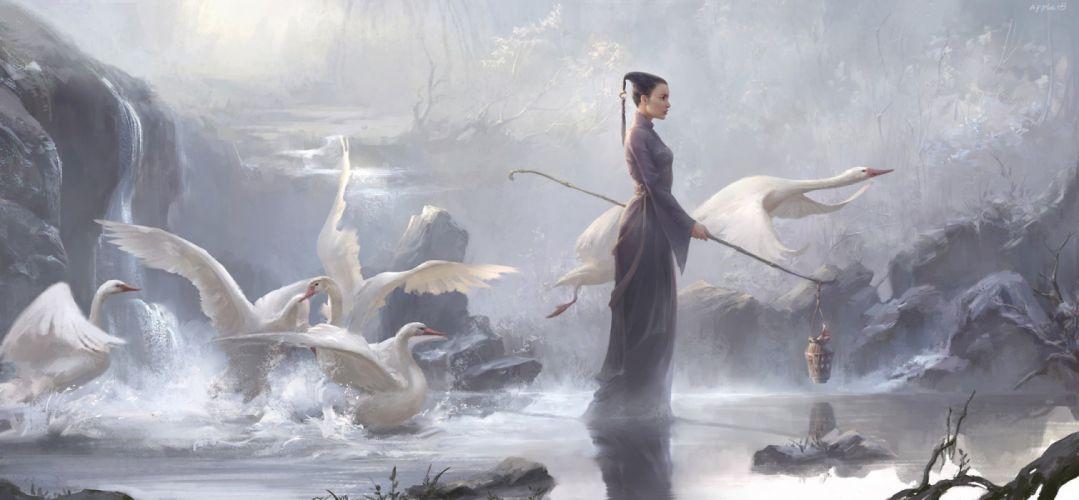 fantasy art swan girl lake animal wallpaper