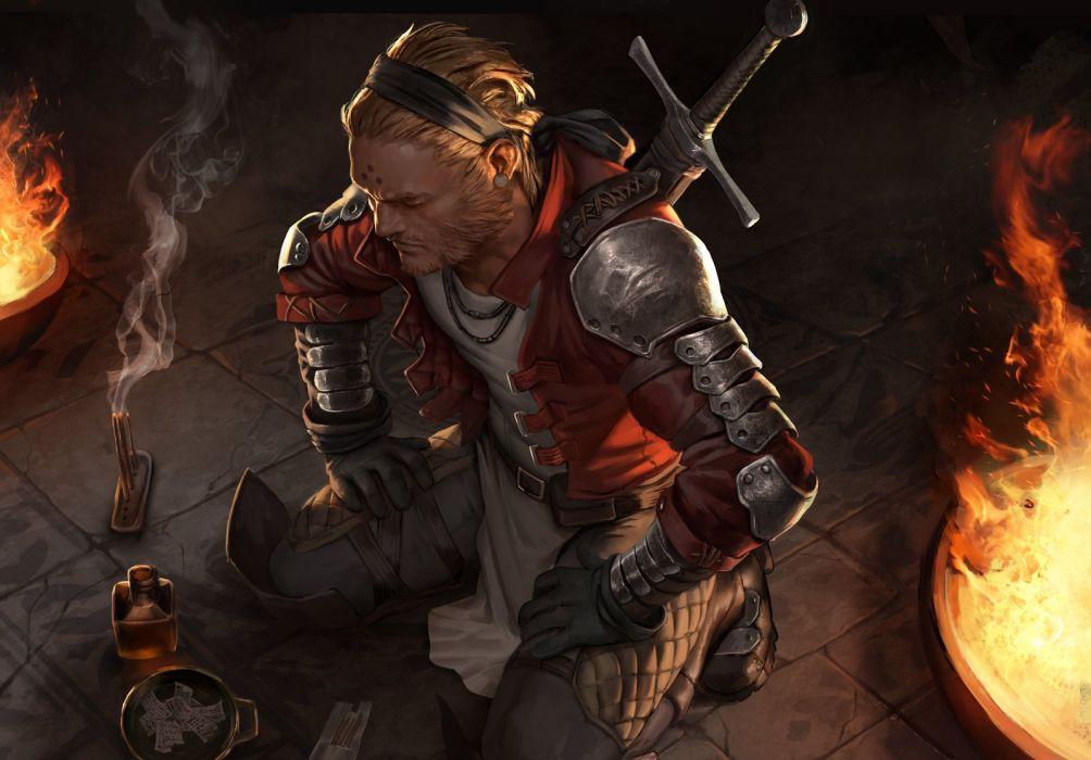 fantasy art warrior man fire sword wallpaper