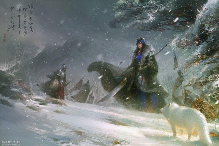 original characters fantasy fantasy art wolf snow winter wallpaper