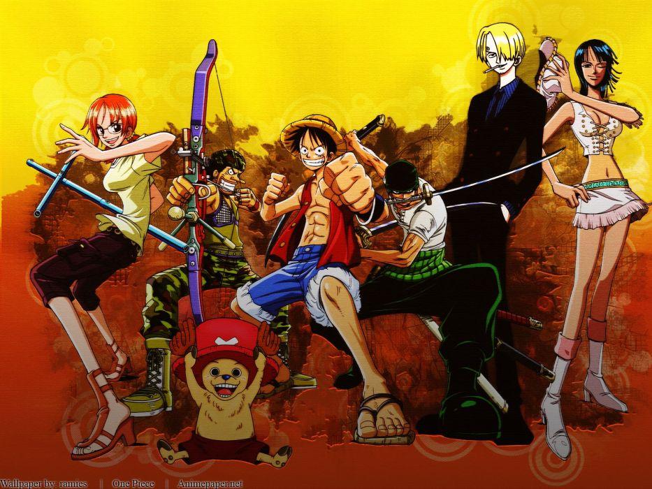 One Piece anime yellow wallpaper