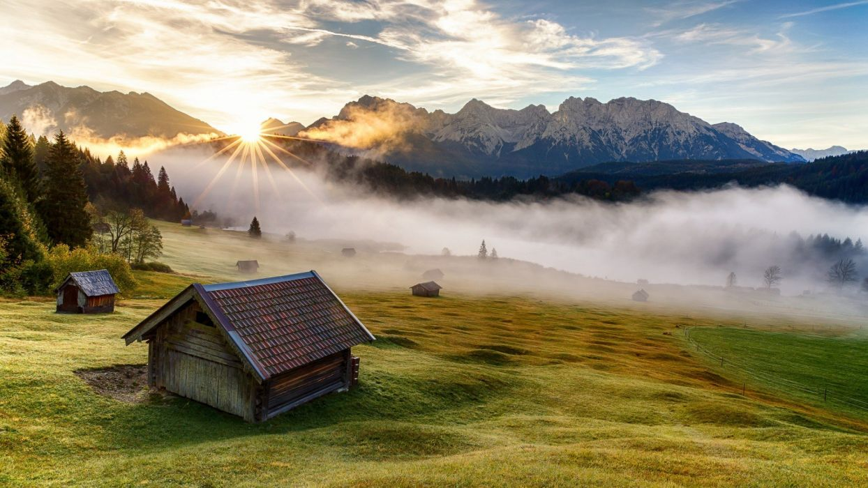 Bavaria mountain house meadow morning landscape wallpaper