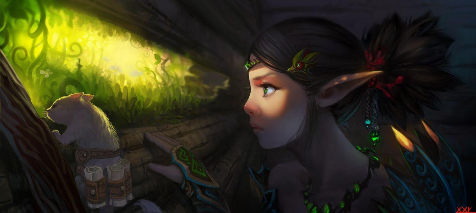 fantasy art warrior girl green eyes elf wallpaper