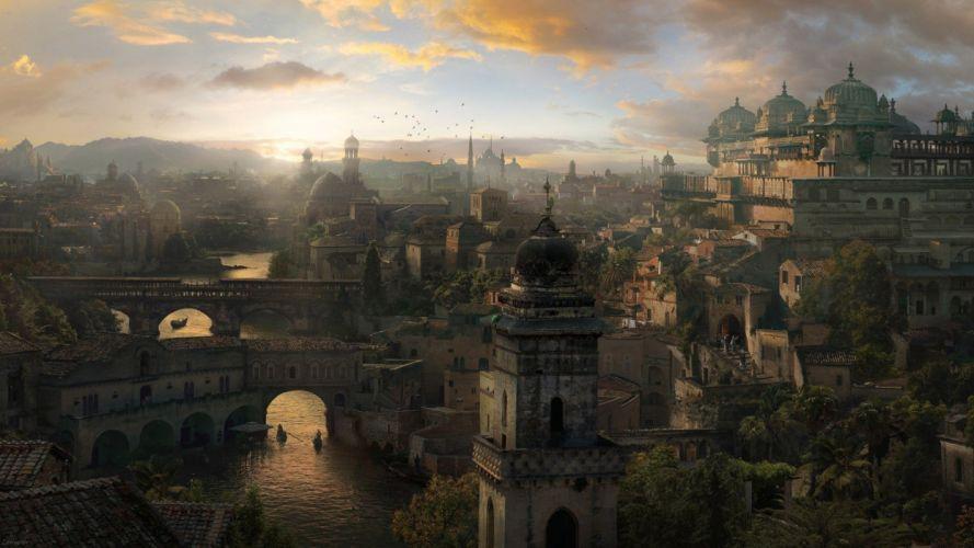 video games assassins city fantasy wallpaper