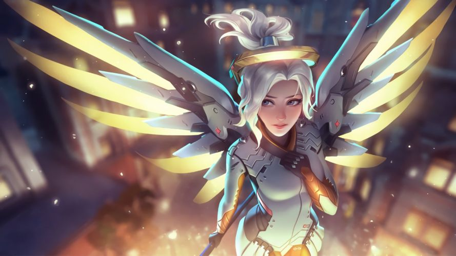 Overwatch angel Mercy wings wallpaper