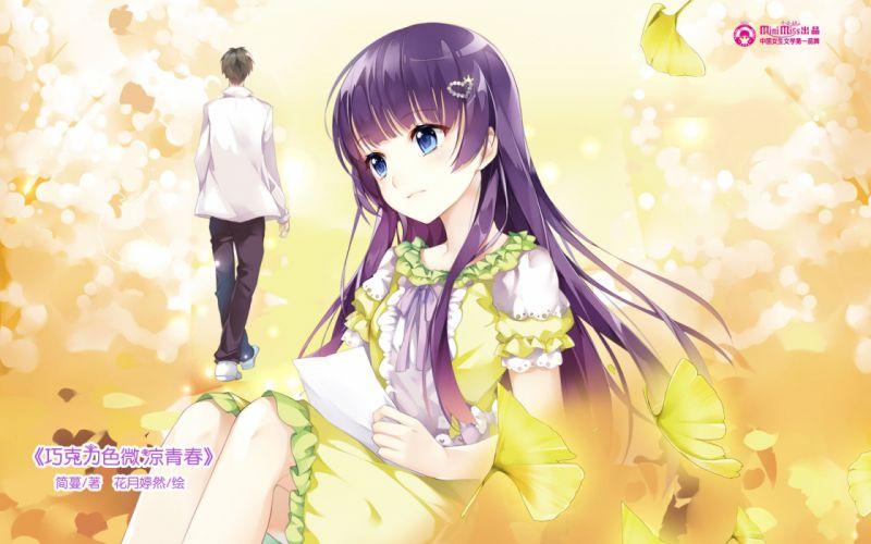 anime girl beautiful long hair flower couple dress wallpaper