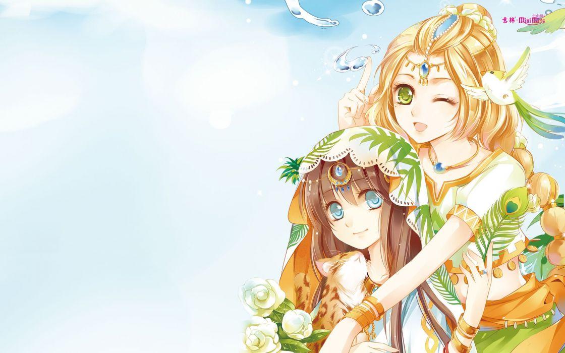 anime girls beautiful long hair flower dress wallpaper