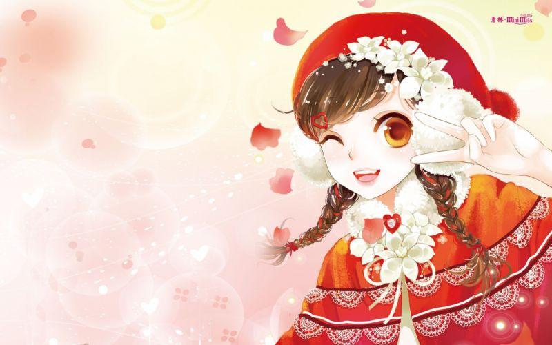 anime girl beautiful long hair flower dress autumn wallpaper