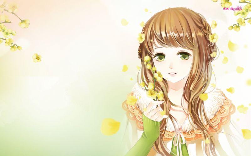 anime girl beautiful long hair flower dress green eyes wallpaper