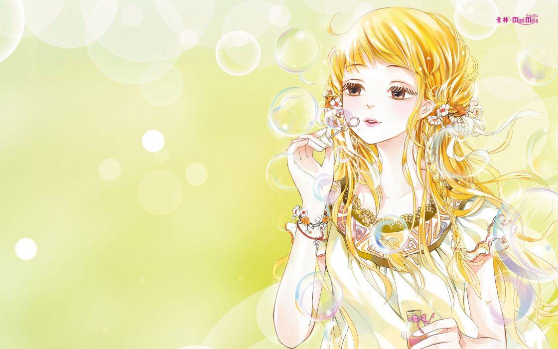 anime girl beautiful long hair flower dress blonde wallpaper