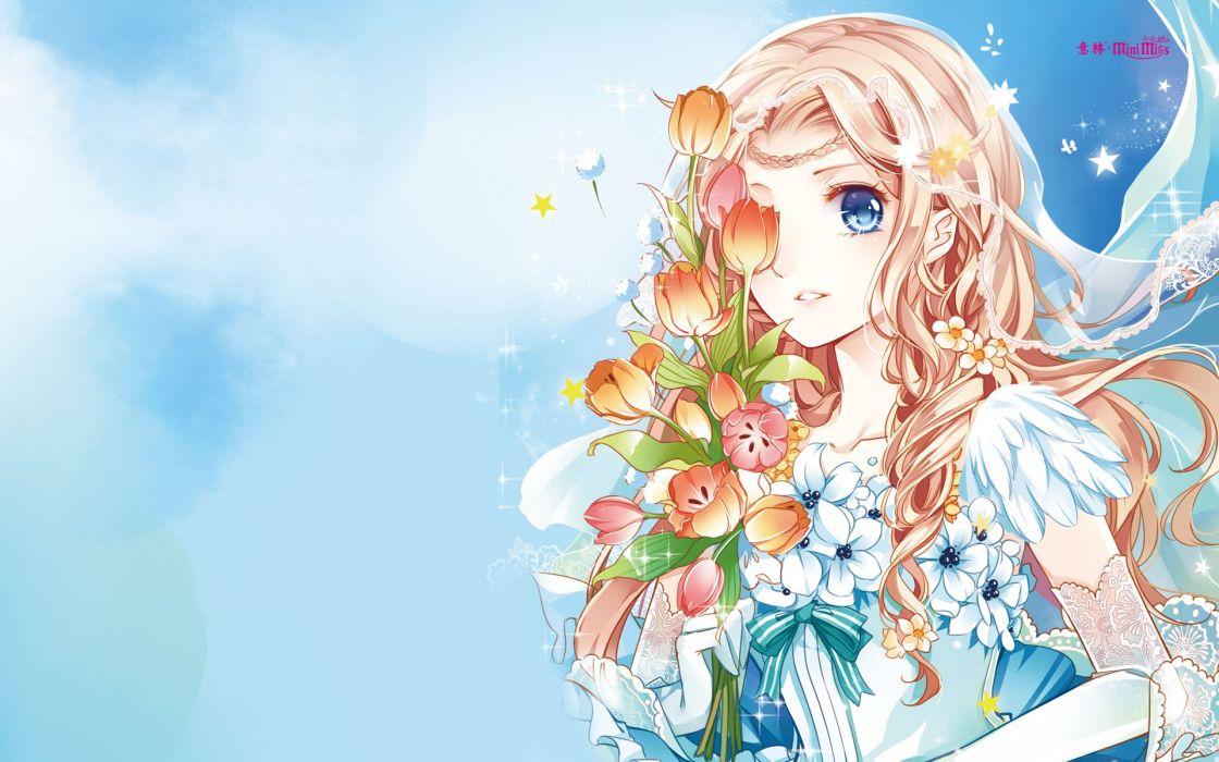 anime girl beautiful long hair flowers dress wallpaper