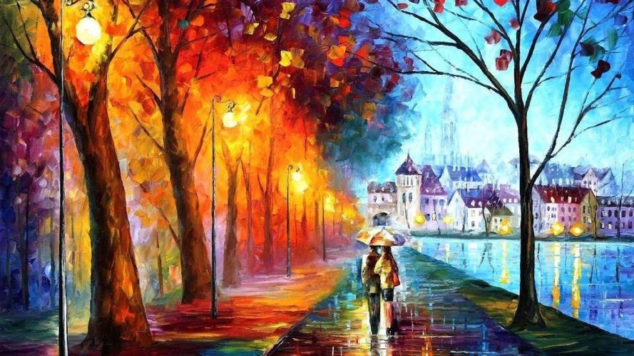 oil painting couple colorfull art wallpaper
