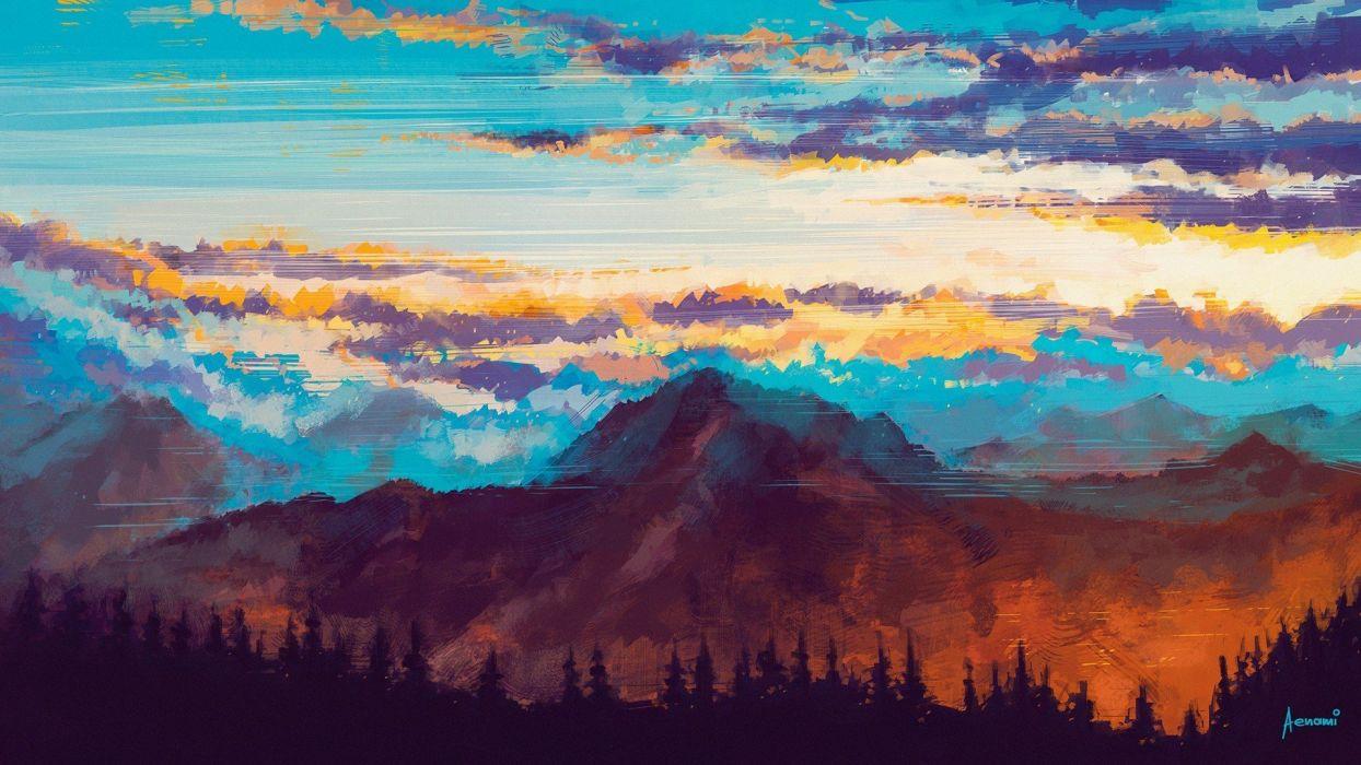 oil painting art landscape cloud mountain original tree wallpaper