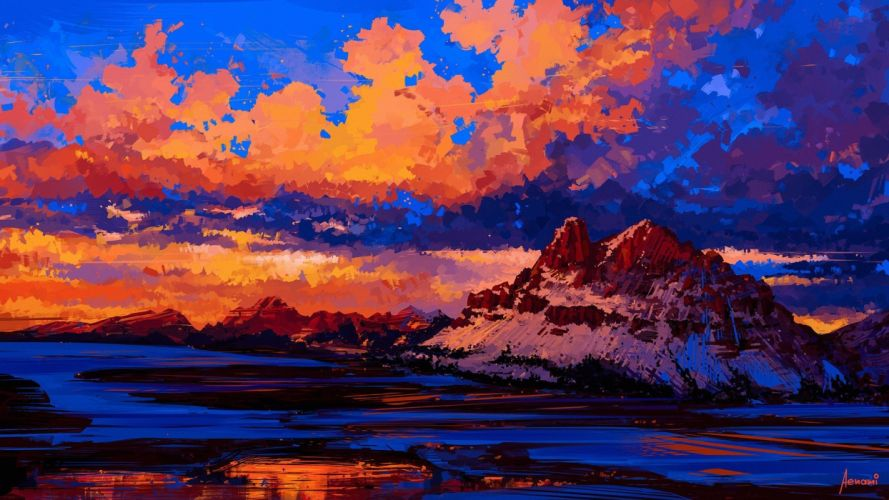 oil painting art landscape cloud mountain original wallpaper