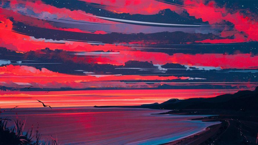 oil painting art landscape cloud mountain original sea beach wallpaper