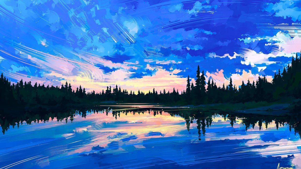 oil painting art landscape cloud lake original wallpaper