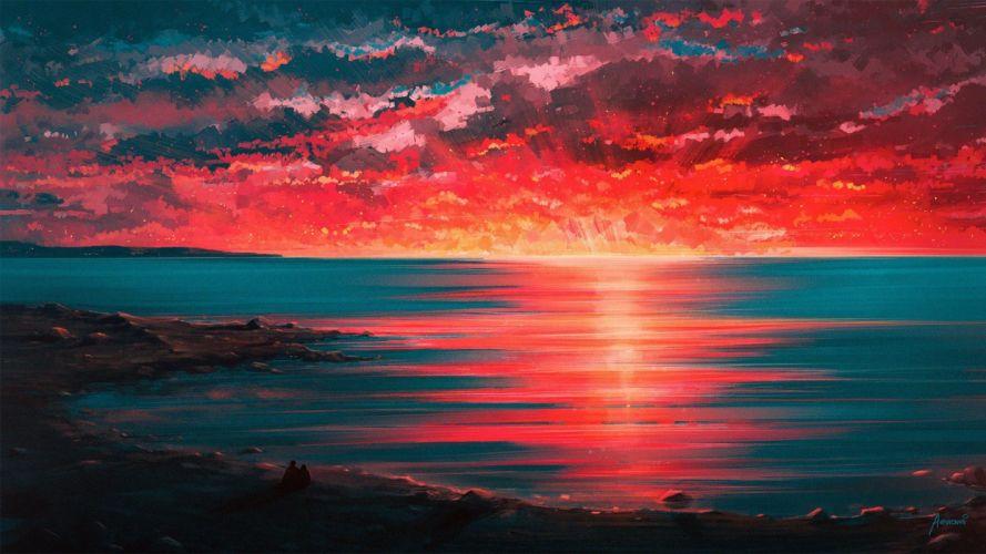 oil painting art landscape cloud mountain original sea sunset wallpaper