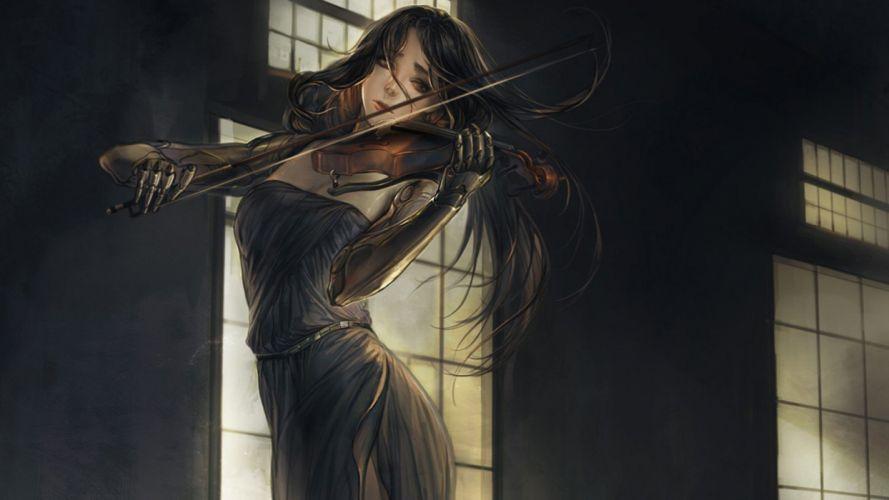 anime girl violin dress wallpaper