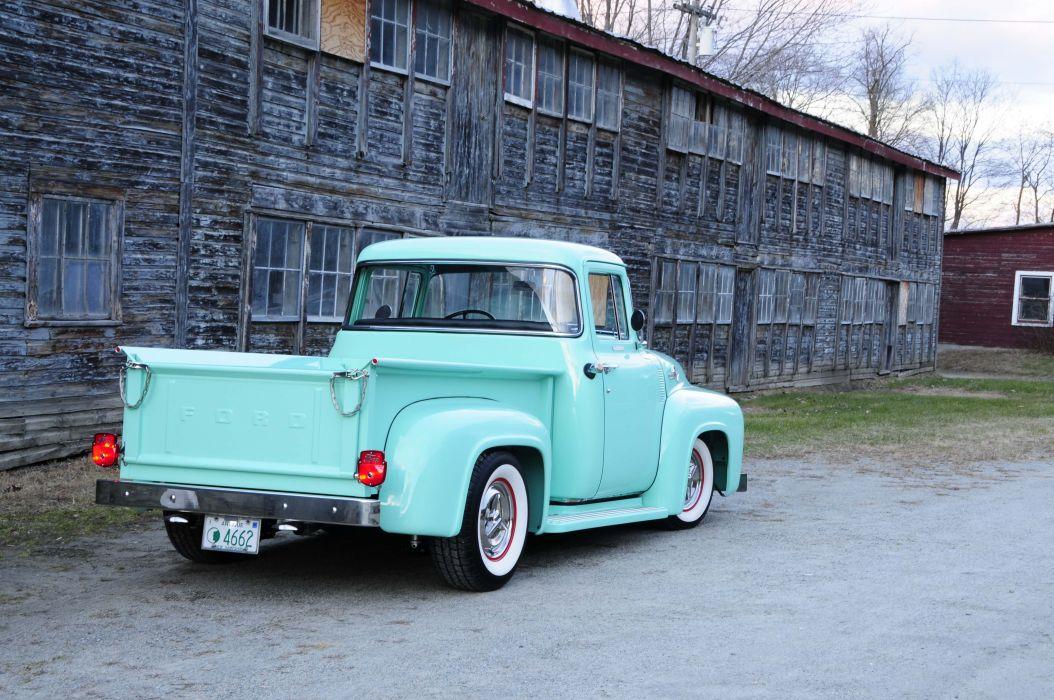 1956 Ford F-100 pickup truck blue modified wallpaper