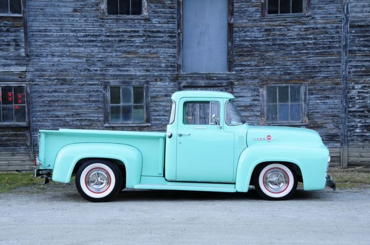 1956 Ford F-100 pickup truck blue modified wallpaper