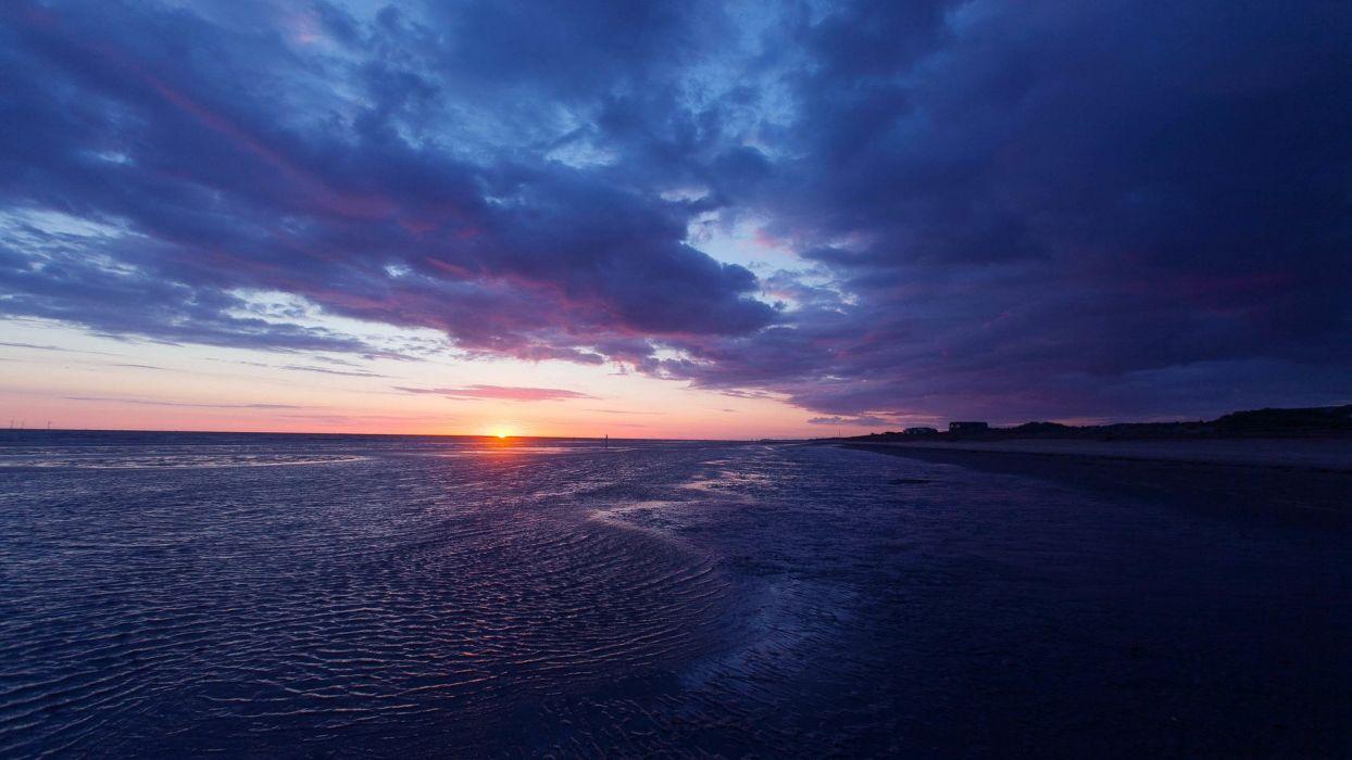 nature landscape beauty beach blue sunset sky clouds wallpaper