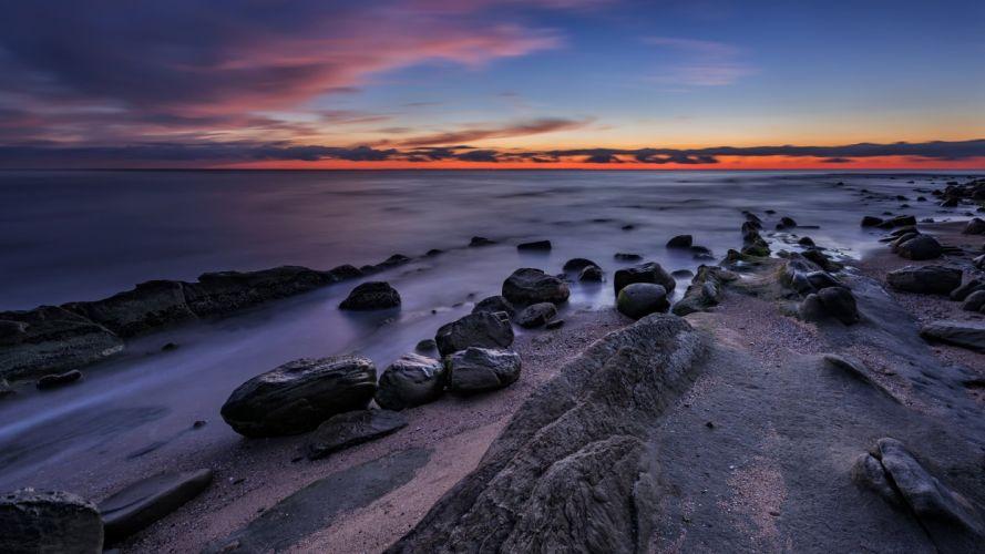 nature landscape beauty beach blue sunset sky clouds rocky wallpaper