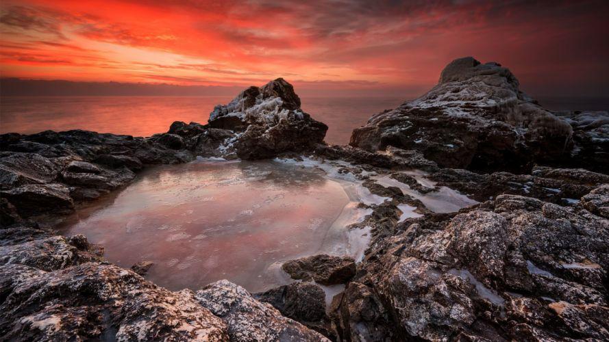 nature landscape beauty beach ice sunset sky clouds rocky wallpaper
