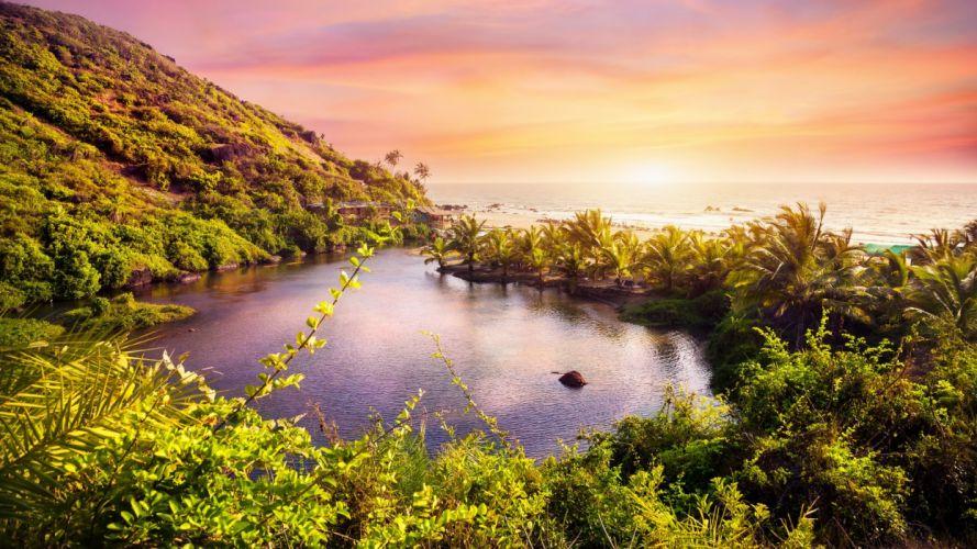 nature landscape beauty beach blue sunset sky clouds rocky lake trees wallpaper