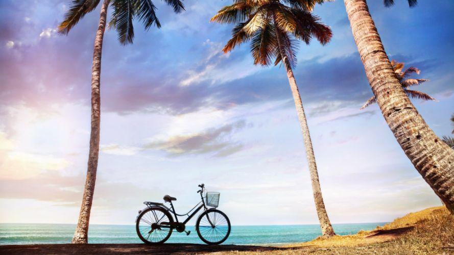 nature landscape beauty beach blue sunset sky clouds rocky bike wallpaper