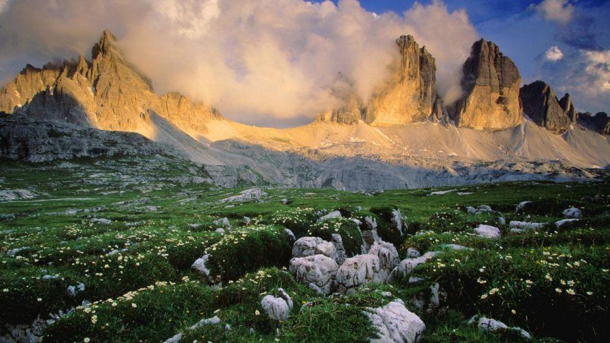 nature landscape beauty mountain clouds tree flower wallpaper